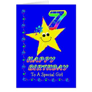 Cartes 7ème Étoiles d'anniversaire pour des filles