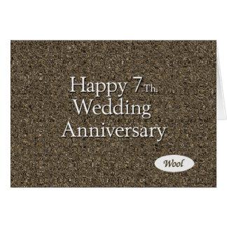Cartes 7ème heureux. Laine d'anniversaire de mariage