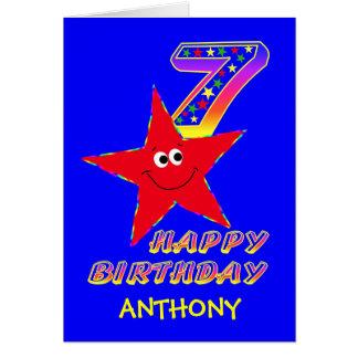 Cartes 7ème nom de coutume d'anniversaire d'étoile