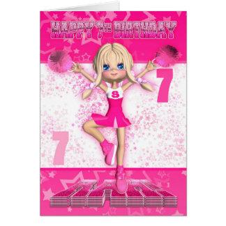 Cartes 7ème Pom-pom girl d'anniversaire dansant, étoiles