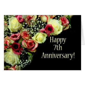 Cartes 7èmes roses heureux d'anniversaire