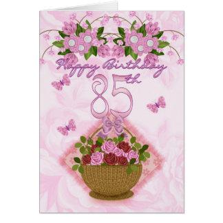 Cartes 85th Madame d'anniversaire, roses et fleurs