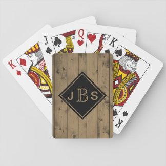 Cartes À Jouer 3 texture rustique décorée d'un monogramme en bois