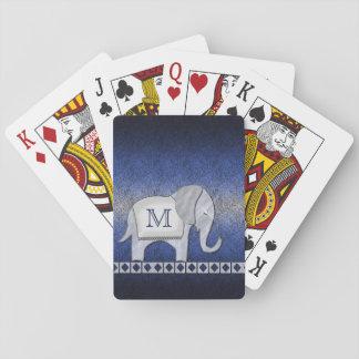 Cartes À Jouer Argent de monogramme de promenade d'éléphant/ID390