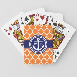 Cartes À Jouer Bleu marine orange d'ancre du Marocain #5 de