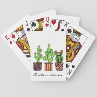 Cartes À Jouer Cactus mignon d'aquarelle dans des pots