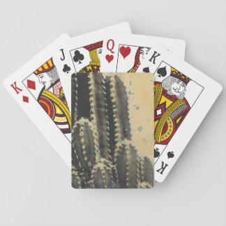 Cartes À Jouer Cactus vert sur l'arrière - plan jaune