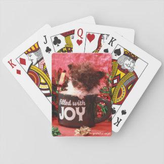 Cartes À Jouer Cartes de jeu de Noël de chiot de caniche de tasse