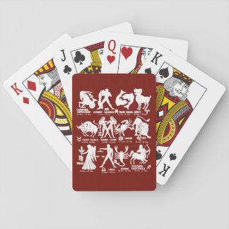 Cartes À Jouer Cartes de jeu marron blanches de jeu de zodiaque