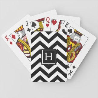 Cartes À Jouer Cartes de jeu noires et blanches de monogramme de