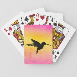 Cartes À Jouer Cartes de jeu texturisées de colibri d'aquarelle