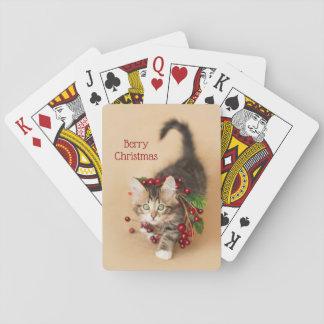 Cartes À Jouer Chaton de baie de Noël de pays