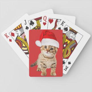 Cartes À Jouer Chaton mignon de chat de Père Noël