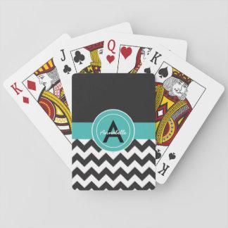 Cartes À Jouer Chevron turquoise noir
