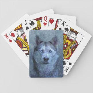 Cartes À Jouer Chien de traîneau bleu de loup