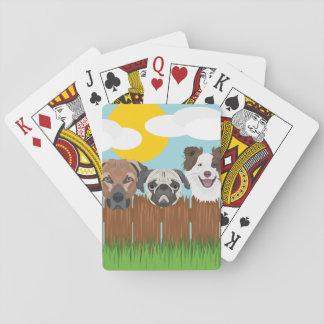 Cartes À Jouer Chiens chanceux d'illustration sur une barrière en