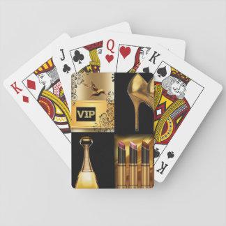 Cartes À Jouer Cosmétiques de noir et d'or et collage de mode