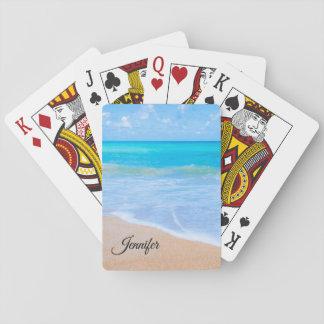 Cartes À Jouer Coutume tropicale de photo de scène de plage