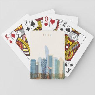 Cartes À Jouer Doha, horizon de ville du Qatar |