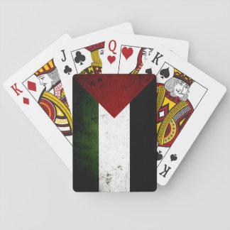 Cartes À Jouer Drapeau grunge noir de la Palestine
