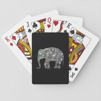 Cartes À Jouer Éléphant argenté coloré scintillant de mosaïque de