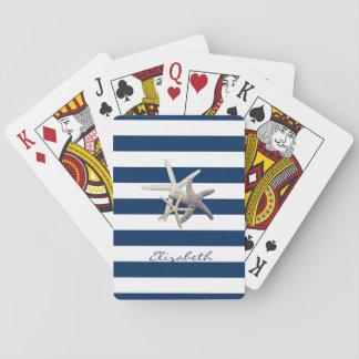 Cartes À Jouer Étoiles de mer adorables, bleu marine