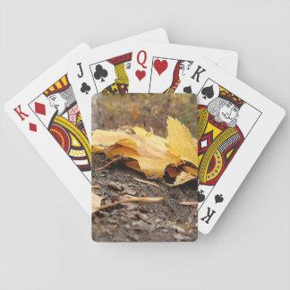 Cartes À Jouer Feuille de chute sur le tronçon d'arbre