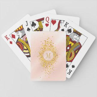 Cartes À Jouer Feuille d'or rose ID445 de monogramme de confettis