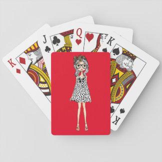 Cartes À Jouer Fille maladroite mignonne dans sa robe de point de