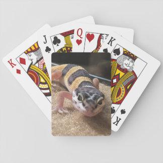 Cartes À Jouer Fin de lézard de Gecko de léopard jouant aux
