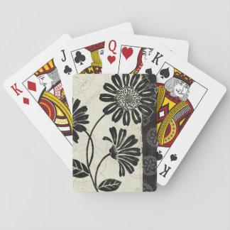 Cartes À Jouer Floral contemporain en noir et blanc