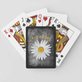 Cartes À Jouer Frais comme marguerite sur la texture noire et