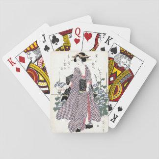 Cartes À Jouer Geisha japonais dans la copie de bois de graveur