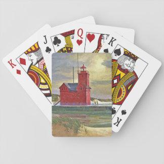 Cartes À Jouer Grandes cartes de jeu rouges de peinture à l'huile