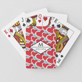 Cartes À Jouer Gros coeurs rouges répétant le motif mignon