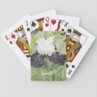Cartes À Jouer Iris barbu grand blanc noir