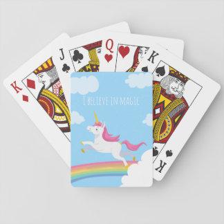 Cartes À Jouer Je crois en cartes magiques d'arc-en-ciel de