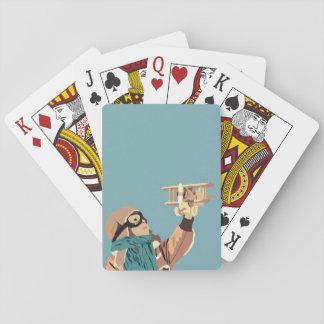 Cartes À Jouer Jeune fille avec les cartes de jeu plates en bois