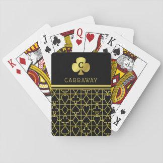 Cartes À Jouer La carte noire chique d'or adapte au trèfle décoré