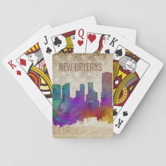 Cartes À Jouer La Nouvelle-Orléans, horizon de ville d'aquarelle