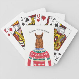 Cartes À Jouer Lama drôle utilisant le chandail laid de Nordic de