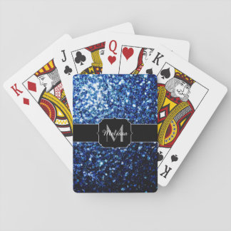 Cartes À Jouer Le beau scintillement bleu-foncé miroite