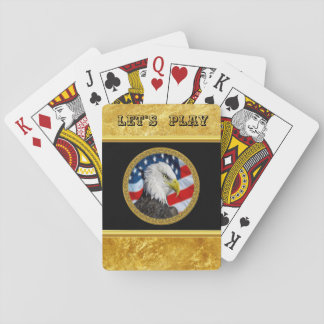 Cartes À Jouer Le chef d'Eagle et une feuille d'or de drapeau