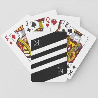Cartes À Jouer le noir barre décoré d'un monogramme sur le blanc