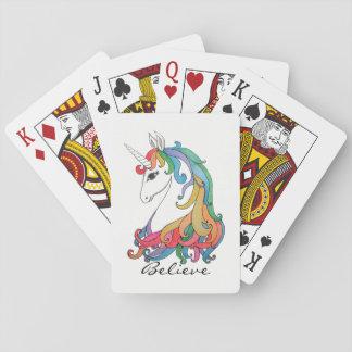 Cartes À Jouer Licorne mignonne d'arc-en-ciel d'aquarelle