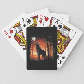 Cartes À Jouer Loup d'hurlement aux cartes de jeu de coucher du