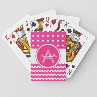 Cartes À Jouer Monogramme blanc rose de Chevron personnalisé