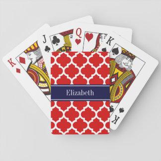 Cartes À Jouer Monogramme blanc rouge de nom de bleu marine du