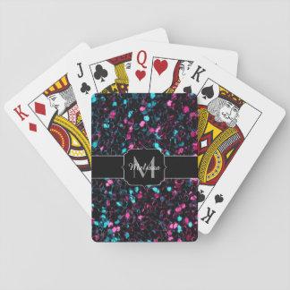 Cartes À Jouer Monogramme bleu rose scintillant d'étincelles de