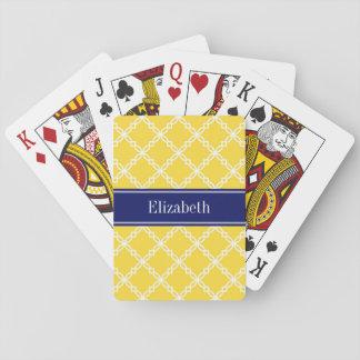 Cartes À Jouer Monogramme de fantaisie blanc de nom de marine de